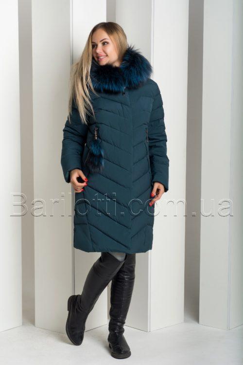 Роскошный зимний пуховик с натуральным мехом чернобурки Hailuozi 18-68
