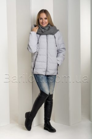 Зимняя тёплая короткая куртка больших размеров с шарфом-снудом Snow Owl 18В680М-1