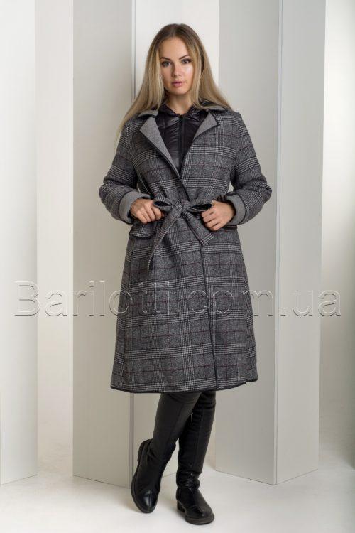 Оригинальный тёплый зимний пуховик-двойка, трансформер - пуховик+пальто в шотландскую клетку. 8190