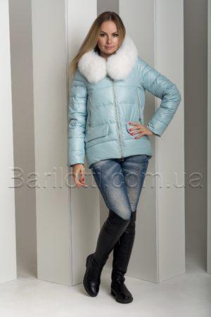 Невероятно красивая зимняя курточка с натуральным белым мехом песца Hannan Liuni 827