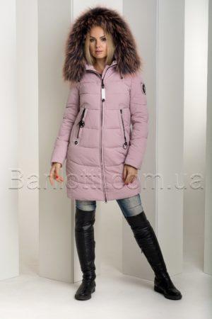 Красивый зимний пуховик с цветным мехом чернобурки Hailuozi 18-831