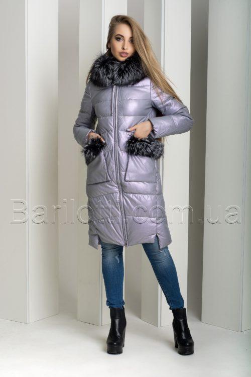 Экстравагантный пуховик из экокожи Ana Vista 07 с натуральным мехом чернобурки