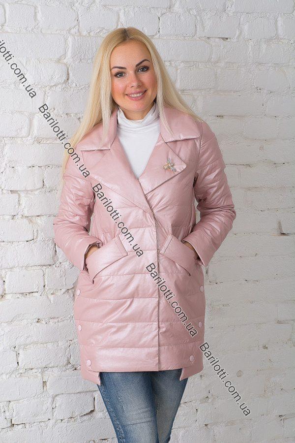 Осенняя куртка из экокожи ZLYA 18195 (2XL-5XL) Пудра