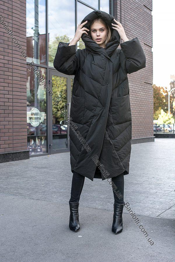 Модный тёплый пуховик оверсайз с капюшоном-монах на натуральном пуху