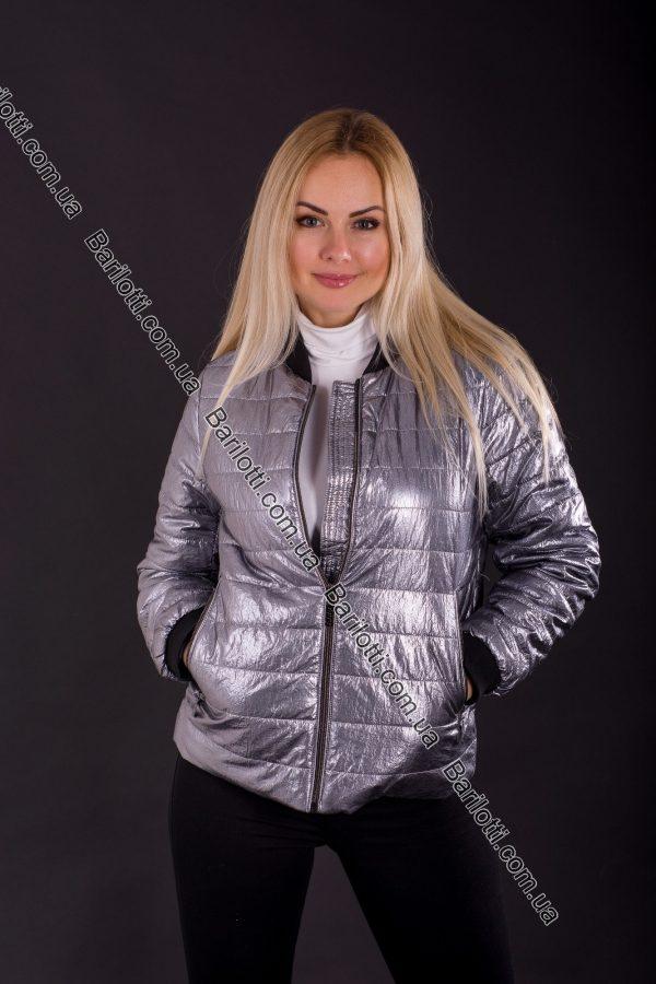 Куртка из блестящей ткани 1718 (S-XL) Серебро