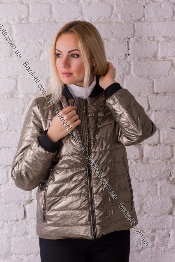 Весенняя куртка из блестящей ткани 1718 (S-XL) Бронза